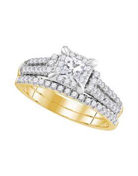 14kt Yellow Gold Womens Princess Diamond Halo Bridal Wedding Engagement Ring Band Set 1.00 Cttw