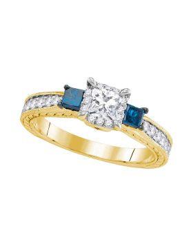 14k Yellow Gold Womens 3-stone Blue Color Enhanced Diamond Wedding Bridal Engagement Ring 1.00 Cttw