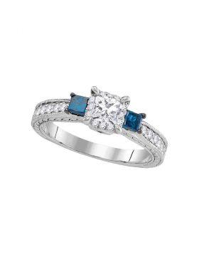 14k White Gold Womens 3-stone Blue Color Enhanced Diamond Wedding Bridal Engagement Ring 1.00 Cttw