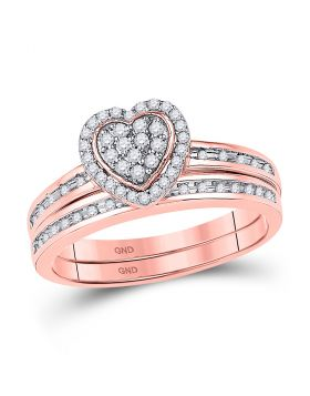 10kt Rose Gold Womens Round Diamond Heart Bridal Wedding Engagement Ring Band Set 1/4 Cttw