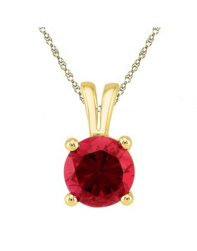 10kt Yellow Gold Womens Round Lab-Created Ruby Solitaire Pendant 1-1/3 Cttw
