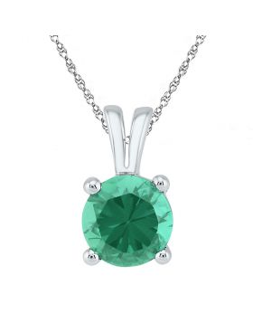 10kt White Gold Womens Round Lab-Created Emerald Solitaire Pendant 1-1/3 Cttw