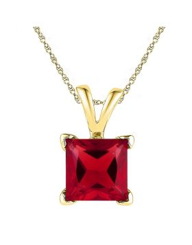 10kt Yellow Gold Womens Princess Lab-Created Ruby Solitaire Pendant 1-1/3 Cttw