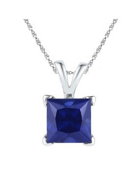 10kt White Gold Womens Princess Lab-Created Blue Sapphire Solitaire Pendant 1-1/3 Cttw