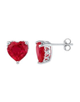 10kt White Gold Womens Heart Lab-Created Ruby Heart Stud Earrings 7.00 Cttw