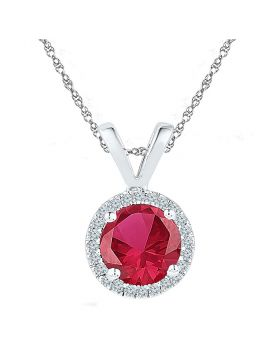 Sterling Silver Womens Round Lab-Created Ruby Solitaire Diamond-accent Pendant 1.00 Cttw
