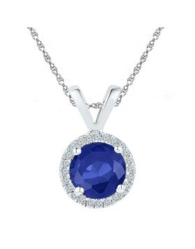 Sterling Silver Womens Round Lab-Created Blue Sapphire Solitaire Pendant 1/10 Cttw