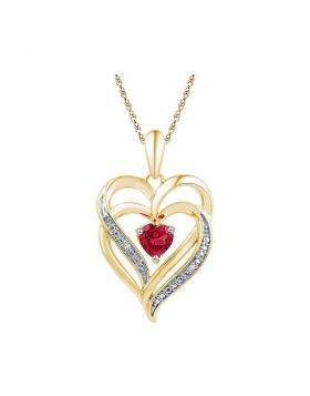Yellow-tone Sterling Silver Womens Round Lab-Created Ruby Heart Pendant .01 Cttw