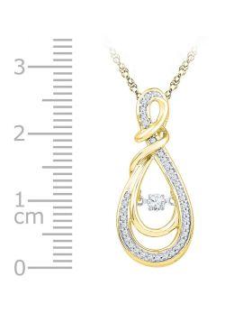 10kt Yellow Gold Womens Round Diamond Twinkle Moving Infinity symbol Heart Pendant 1/3