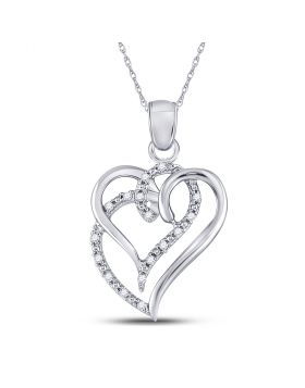 Sterling Silver Womens Round Diamond Heart Pendant 1/5 Cttw