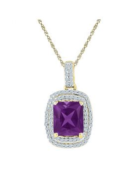 10kt Yellow Gold Womens Radiant Lab-Created Amethyst Solitaire Diamond Pendant 2-3/4 Cttw