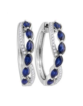 14kt White Gold Womens Oval Natural Blue Sapphire Diamond Woven Hoop Earrings 2-5/8 Cttw