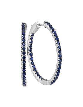 14kt White Gold Womens Round Blue Sapphire Hoop Earrings 2-3/4 Cttw