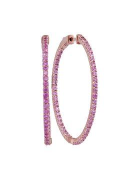14kt Rose Gold Womens Round Pink Sapphire Slender Inside Outside Hoop Earrings 3-3/4 Cttw