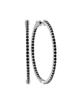 14kt White Gold Womens Round Pave-set Black Sapphire Inside Outside Hoop Earrings 3-3/4 Cttw