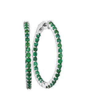 14kt White Gold Womens Round Emerald Inside Outside Hoop Earrings 2-1/2 Cttw