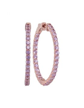 14kt Rose Gold Womens Round Pink Sapphire Inside Outside Hoop Earrings 3-3/4 Cttw