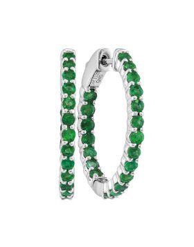 14kt White Gold Womens Round Emerald Inside Outside Hoop Earrings 2.00 Cttw