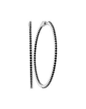 14kt White Gold Womens Round Natural Black Sapphire Slender Hoop Earrings 3-3/4 Cttw