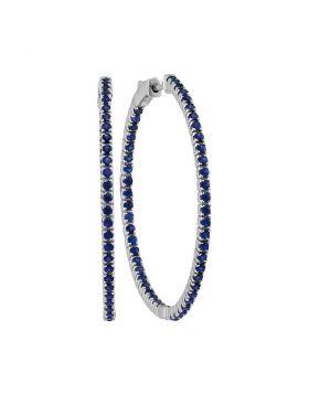 14kt White Gold Womens Round Blue Sapphire Large Slender Inside Outside Hoop Earrings 2-7/8 Cttw