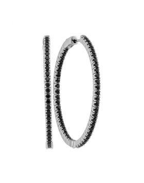 14kt White Gold Womens Round Black Sapphire Slender Inside Outside Hoop Earrings 3-3/4 Cttw
