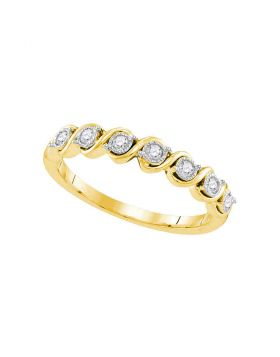 10kt Yellow Gold Womens Round Diamond Band Ring 1/6 Cttw