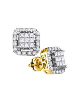 14kt Yellow Gold Womens Princess Diamond Square Frame Cluster Stud Earrings 1.00 Cttw