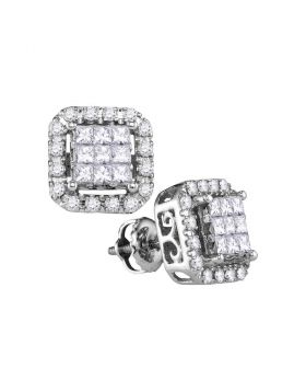 14kt White Gold Womens Princess Diamond Square Frame Cluster Stud Earrings 1.00 Cttw