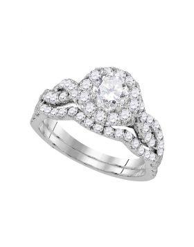 14kt White Gold Womens Round Diamond Bridal Wedding Engagement Ring Band Set 1-3/4 Cttw