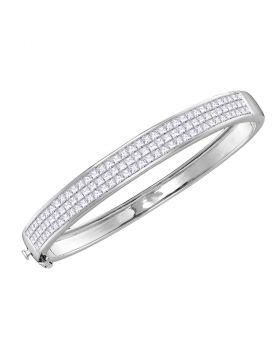 14kt White Gold Womens Princess Diamond Bangle Luxury Bracelet 6.00 Cttw