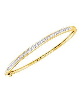 14kt Yellow Gold Womens Princess Diamond Bangle Bracelet 2.00 Cttw