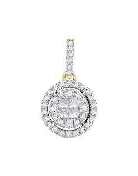 14kt Yellow Gold Womens Princess Round Diamond Soleil Framed Cluster Pendant 1/2 Cttw