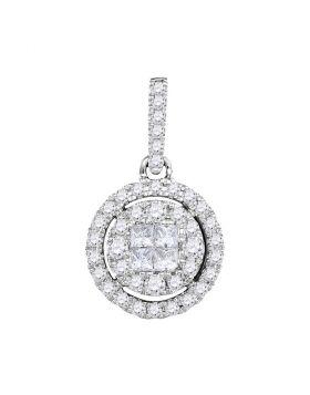 14kt White Gold Womens Princess Round Diamond Soleil Framed Cluster Pendant 1/2 Cttw