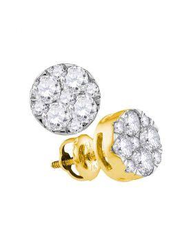 14kt Yellow Gold Womens Round Diamond Flower Cluster Earrings 1.00 Cttw