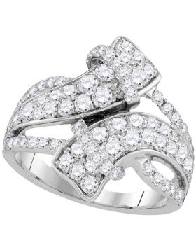 14kt White Gold Womens Round Diamond Bypass Crossover Luxury Band 2.00 Cttw