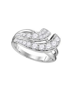 14kt White Gold Womens Round Diamond Double Row Crossover Band 1.00 Cttw
