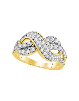 14kt Yellow Gold Womens Round Diamond Infinity Crossover Band 1.00 Cttw