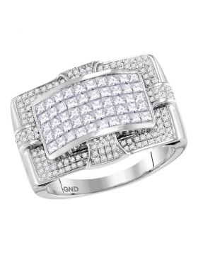 14KT WHITE GOLD PRINCESS DIAMOND WIDE ARCHED CLUSTER RING 2.00 CTTW
