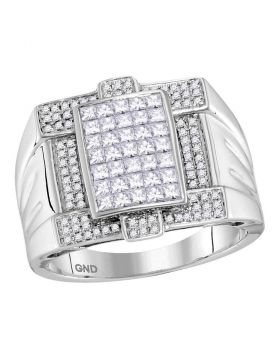 14KT WHITE GOLD PRINCESS DIAMOND SQUARE CLUSTER RING 1-3/8 CTTW