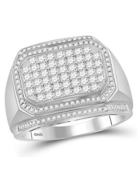 14KT WHITE GOLD ROUND DIAMOND OCTAGON CLUSTER RING 1-3/4 CTTW