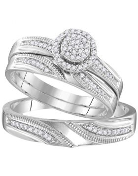 Sterling Silver His & Hers Round Diamond Cluster Matching Bridal Wedding Ring Band Set 1/4 Cttw