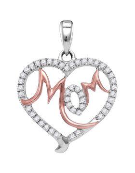10kt White Gold Womens Round Diamond Mom Mother Heart Pendant 1/3 Cttw