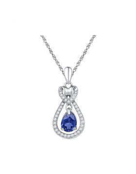 10kt White Gold Womens Oval Lab-Created Blue Sapphire Solitaire Pendant 1/6 Cttw