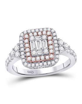 14kt Rose Gold Womens Round Pink Diamond Square Cluster Fashion Ring 7/8 Cttw