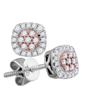 18kt White Gold Womens Round Diamond Square Cluster Stud Earrings 1/4 Cttw