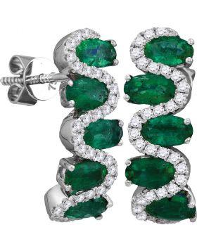 18kt White Gold Womens Oval Emerald Diamond Half Hoop Earrings 2-1/2 Cttw