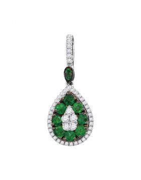 18kt White Gold Womens Round Natural Emerald Diamond Teardrop Cluster Pendant 7/8 Cttw