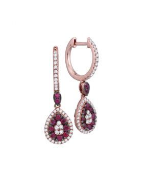 18kt Rose Gold Womens Round Ruby Diamond Teardrop Dangle Earrings 7/8 Cttw