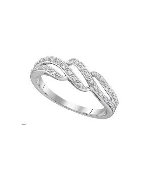 10kt White Gold Womens Round Diamond Band Ring 1/10 Cttw