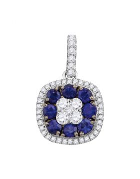 18kt White Gold Womens Round Blue Sapphire Diamond Square Cluster Pendant 1.00 Cttw